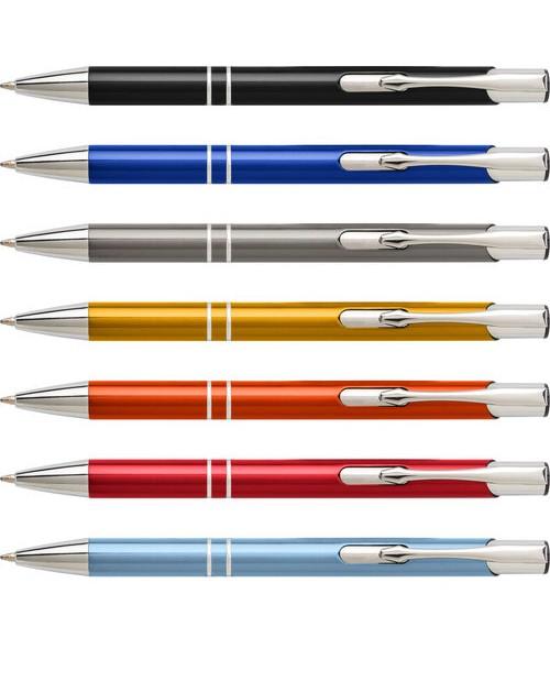 Penna a sfera in alluminio, refill blu