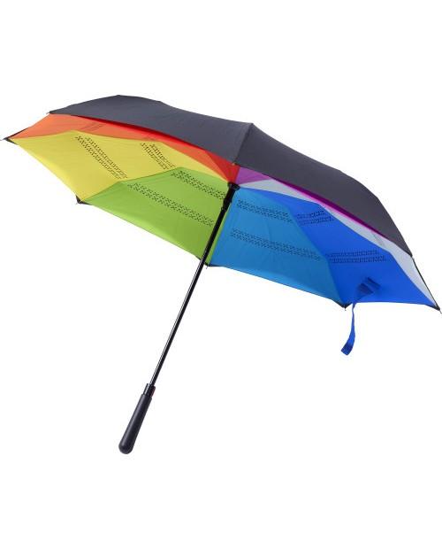 Ombrello in tessuto pongee automatico reversibile